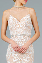Load image into Gallery viewer, Wren Wedding Dress Nude Sheath with White G2934-Champagne SAMPLE IN STORE