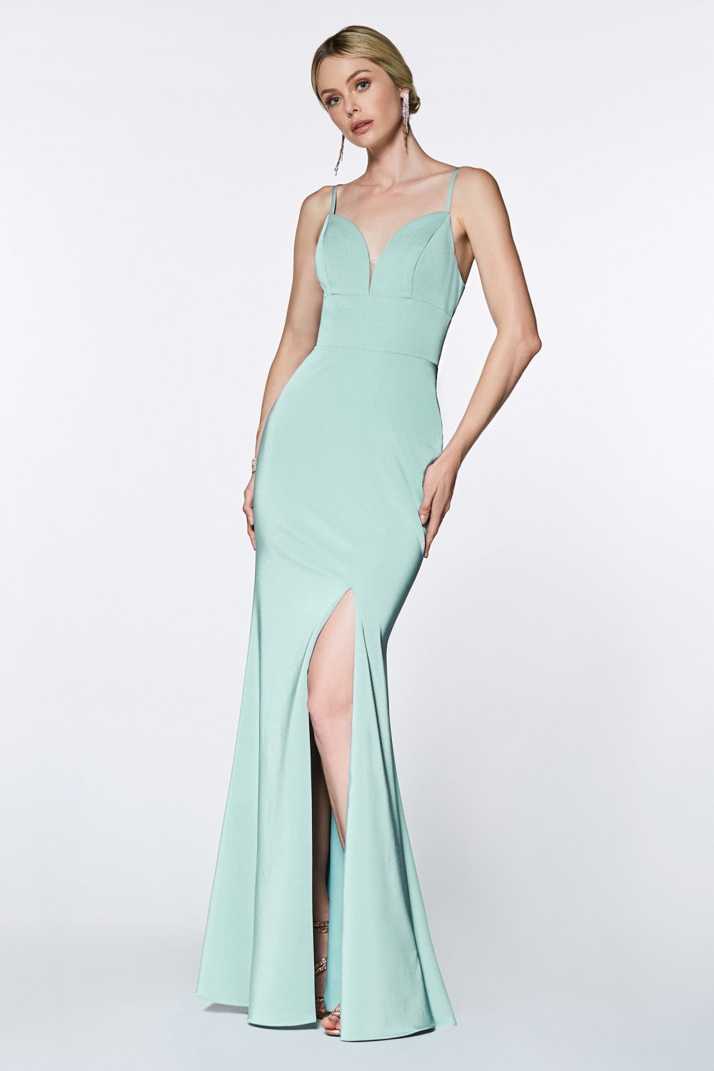 Yolanda Bridesmaid Dress Straight Skirt with front Slit in Seafoam  C7470NR-Seafoam SAMPLE IN STORE