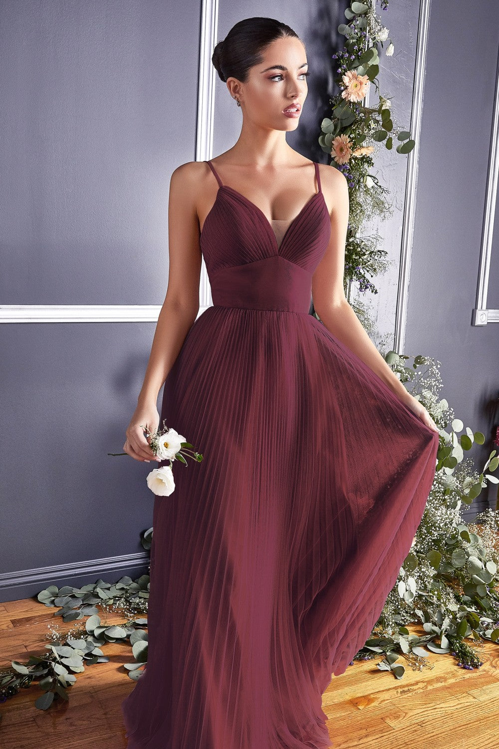 Dahlia Bridesmaid Dress Full Tulle Skirt in Burgundy C184KR-Burgundy  SAMPLE IN STORE