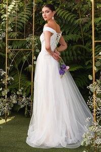 Erin Off Shoulder Beaded Bodice Tulle Skirt Wedding Dress C-170ER-OffWhite