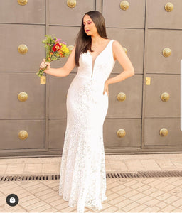 Madison All Lace Sleeveless Wedding Dress E-8838IR  SAMPLE IN STORE