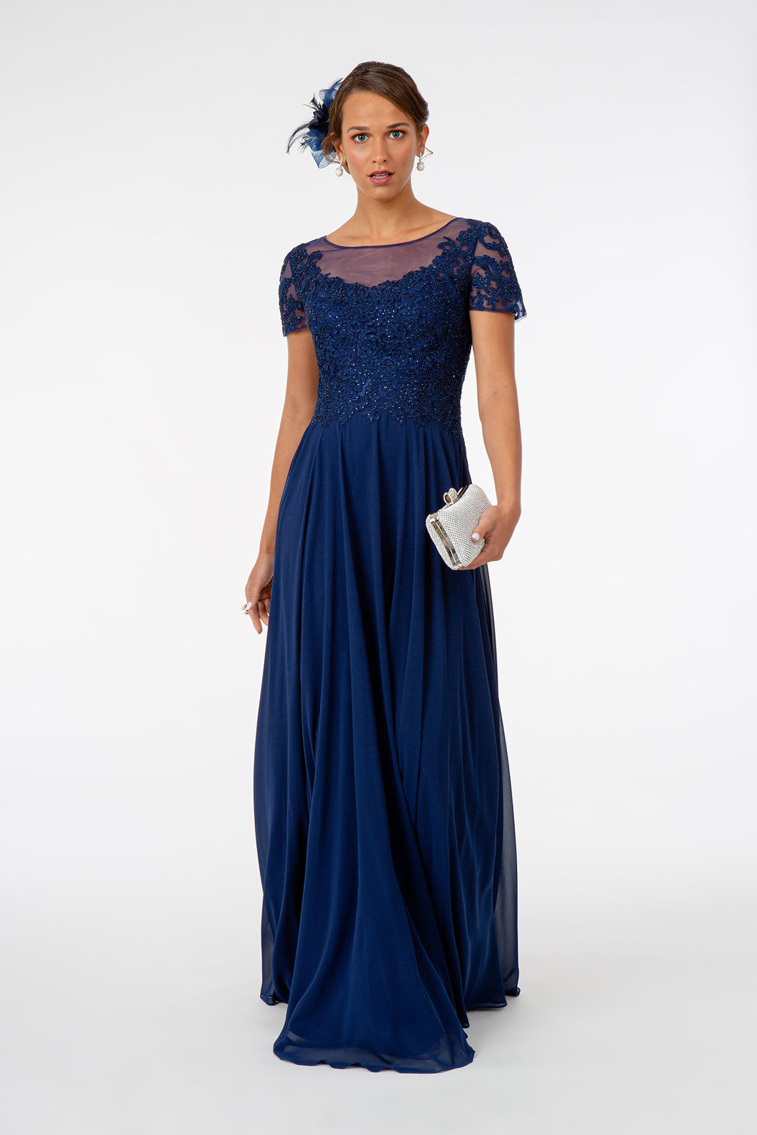 Leona Mothers Dress Sheer Neckline Embroidered Top Mothers Gown G2813XR-Navy SAMPLE IN STORE (in silver)
