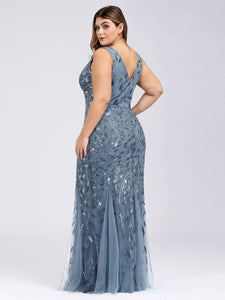 Rosa Dress in Denim Blue Sleeveless Mermaid Gown E7886HE-DenimBlue  SAMPLE IN STORE