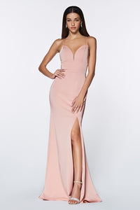 Yolanda Bridesmaid Dress Straight Skirt Front Slit in Dusty Rose C7470NR-DustyRose SAMPLE IN STORE