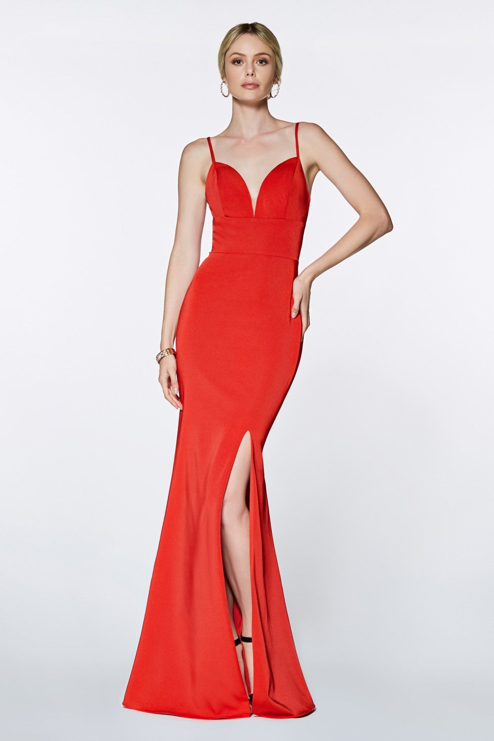 Yolanda Bridesmaid Dress Straight Front Skirt Slit in Red C7470NR-Red SAMPLE IN STORE