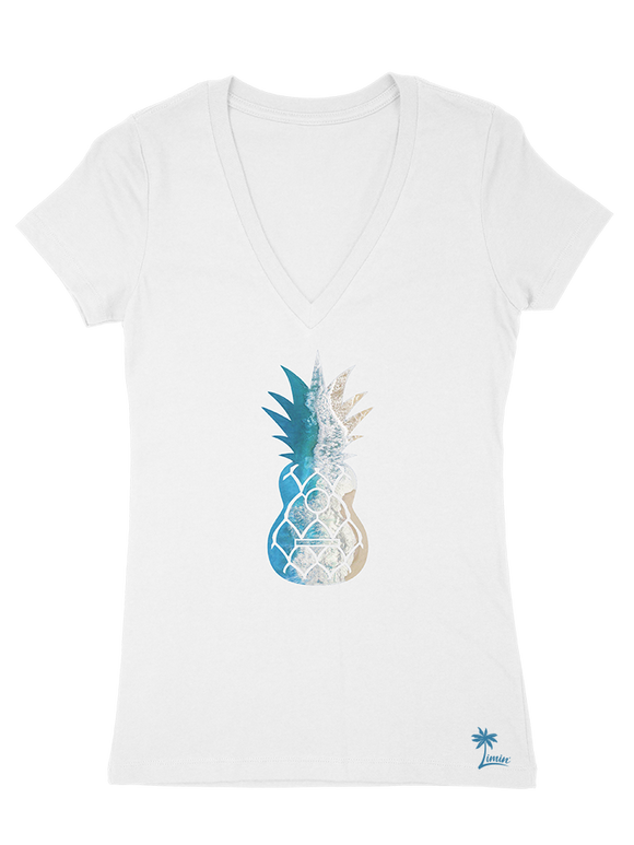 Ladies' Pinapple Deep V - Sand White