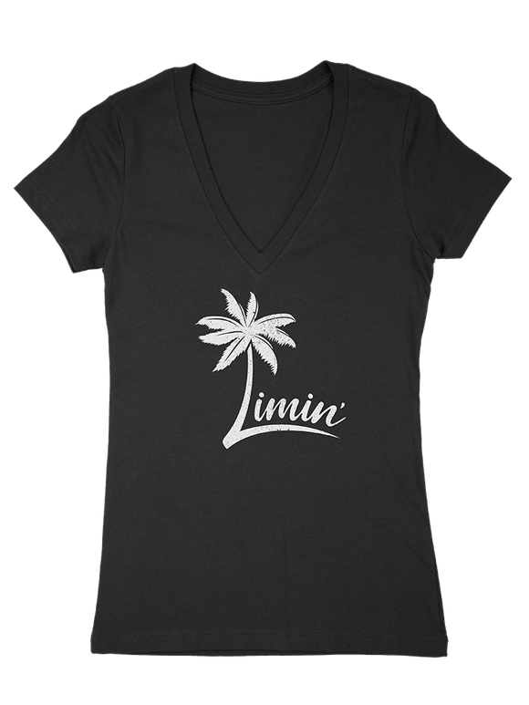 Ladies' Logo Deep V Tee - Jet Black