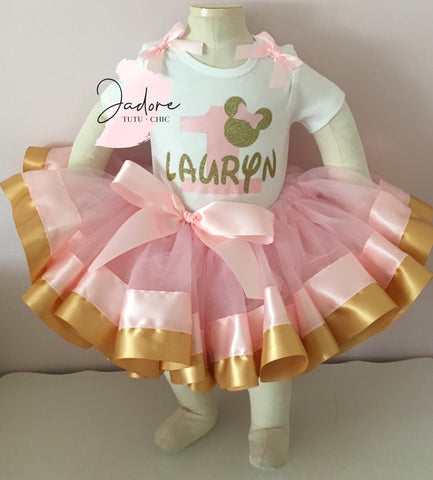 Pink & Gold Minnie mouse birthday tutu outfit