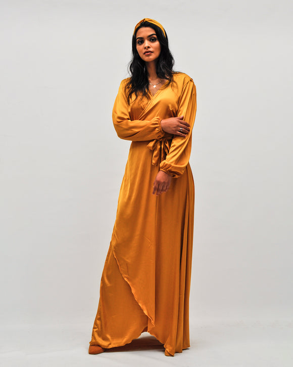Flowy Slinky Wrap Maxi Dress