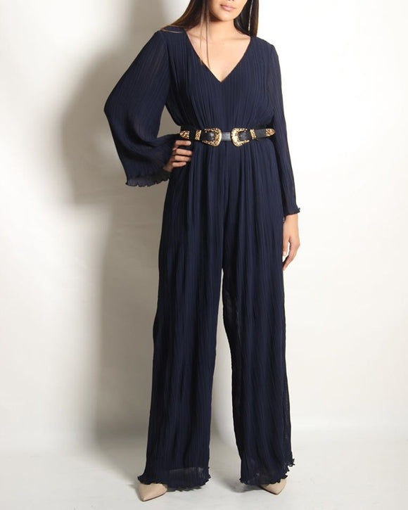 Bell Slv Pleated Jumpsuit
