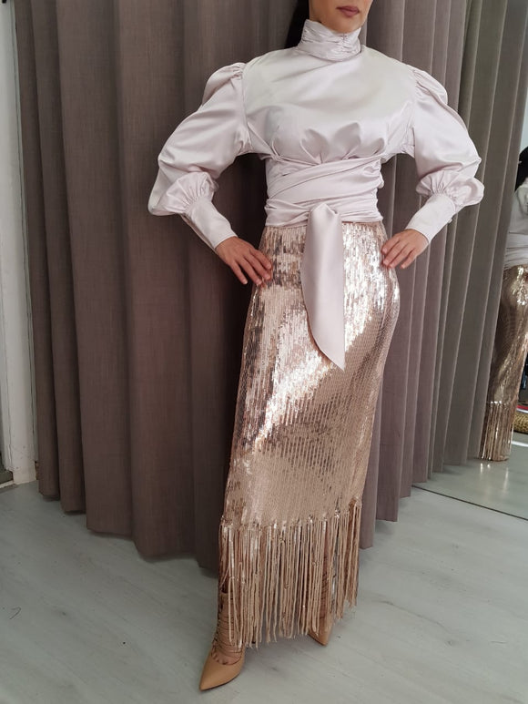Sequin Fringe Maxi Skirt