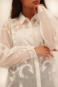 Embroidered Sheer Shirt