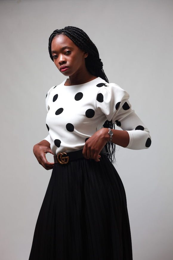 Polka Dot Puffer Sleeve Top