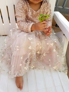 Rose-gold Sequin Box Top + Floral Embroidery Tulle Skirt (SET)