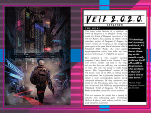 Veil 2020: Minimalist Cyberpunk Action Roleplaying (Digital PDF Book)