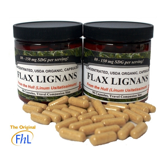 Two Jars of Capsules - Original FHL Flax Hull Lignans Immune System Super Charger