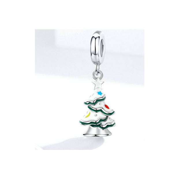 Christmas Tree With Snow Pendant Charm