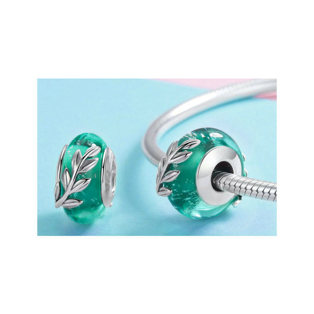 Green Leaf Murano Glass Beads