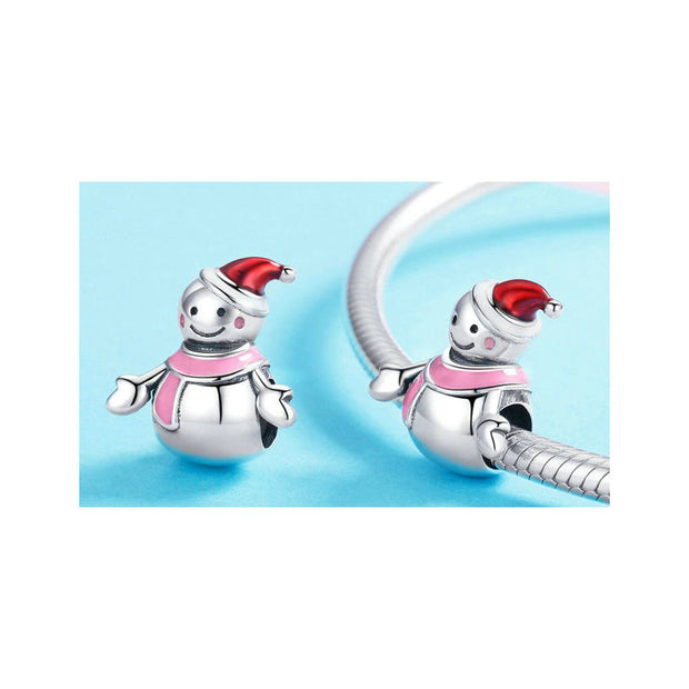 Miss Snowman Red and Pink Enamel Charms