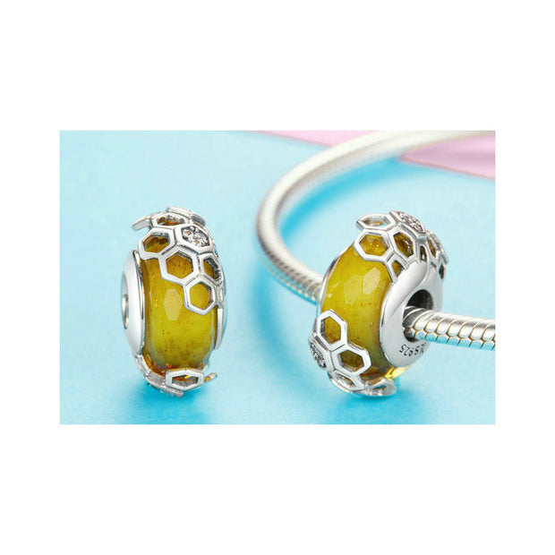 Honeycomb Bee Glass Beads