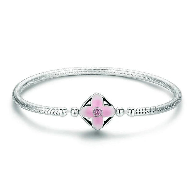 Cherry Flower Square Clasp Bracelet