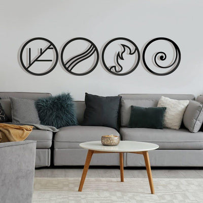 Earth, Wind, Fire, & Water Element Wall Decor - Blumellon