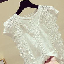 Charger l'image dans la galerie, 4XL Lace Blouse 2019 Women Blouses and Tops Solid White Office Shirt Hollow Out Casual Tops Blusas Chemise Femme AA023S50