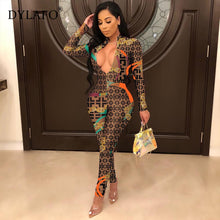 Charger l'image dans la galerie, 2019 New Sexy Stand Neck Skinny Rompers Zippers Long Sleeve Print Womens Jumpsuit Streetwear Plus Size Ladies Jumpsuits Overalls