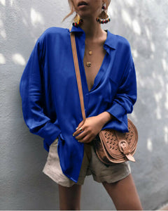 2020 Women Fashion Deep V-Neck Satin Blouse Casual Solid Silk Long Sleeve Office Ladies Elegant Shirt Spring Autumn Loose Tops
