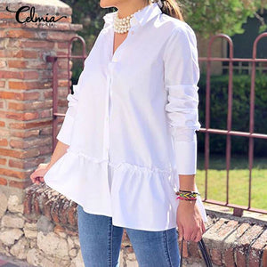 2019 Celmia Autumn Women Casual Blouses Long Sleeve Ruffled Shirts Buttons Loose Solid Work Blusas Femininas Tops Plus Size 7