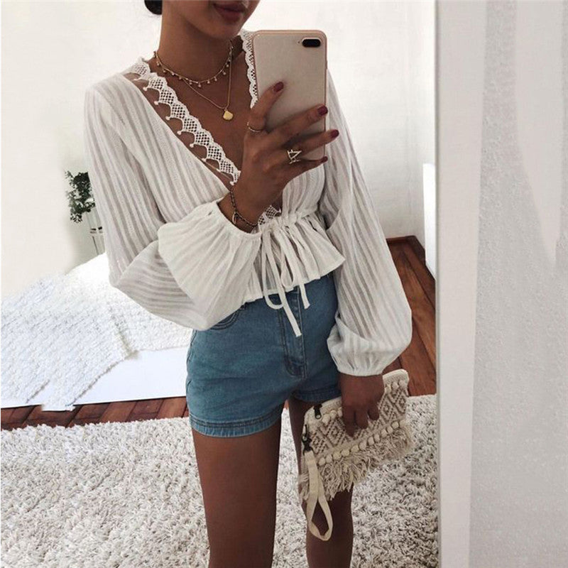 High Street Women White Crop Tops Striped Blouse Lace Deep V Neck Long Lantern Sleeve Shirts Eleghant Lady Waist Lace-up Tops