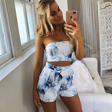 Charger l'image dans la galerie, Floral Print Chiffon Playsuit Women 2018 Summer Sexy Off Shoulder Halter Sleeveless Boho Rompers Jumpsuit Beach Party Overalls