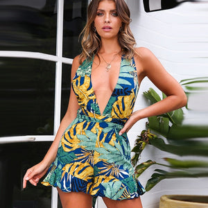 Floral Print Chiffon Playsuit Women 2018 Summer Sexy Off Shoulder Halter Sleeveless Boho Rompers Jumpsuit Beach Party Overalls