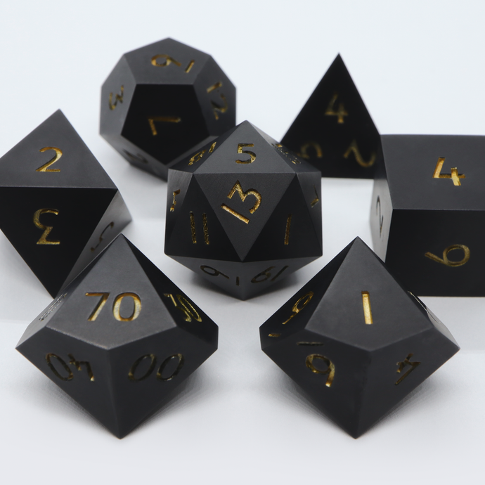 The Black Obelisk - handmade ultra matte sharp edge 7 piece dice set