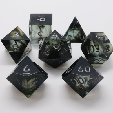 Drowned Sea - green variant - handmade sharp edge 7 piece dice set