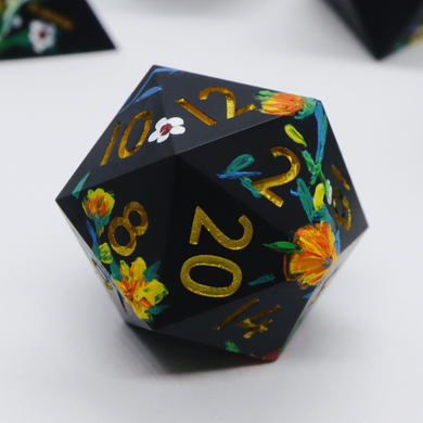 Fey Illuminations - hand-painted & handmade sharp edge single d20