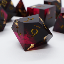 Load image into Gallery viewer, The Gods Are Athirst - handmade sharp edge 7 piece dice set