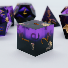 Load image into Gallery viewer, Heretic's Glory - handmade sharp edge 7 piece dice set