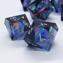 Load image into Gallery viewer, The Light Fantastic - handmade sharp edge 7 piece dice set