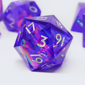 Neon Dreamer - handmade sharp edge 7 piece dice set
