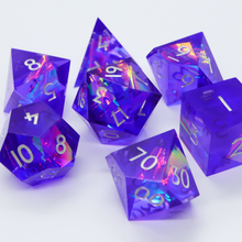 Load image into Gallery viewer, Neon Dreamer - handmade sharp edge 7 piece dice set