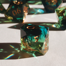 Load image into Gallery viewer, Sublime Blight - handmade sharp edge 7 piece dice set