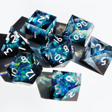 Load image into Gallery viewer, Stardust Geode - handmade sharp edge 7 piece dice set