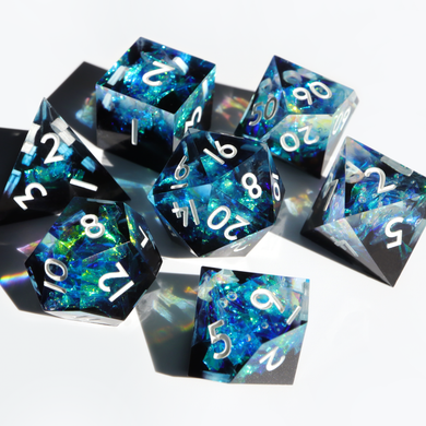 Stardust Geode - handmade sharp edge 7 piece dice set