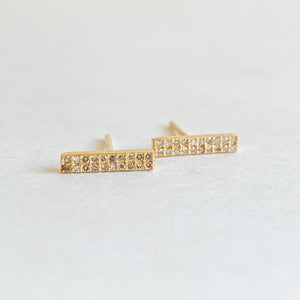 pave diamond bar studs