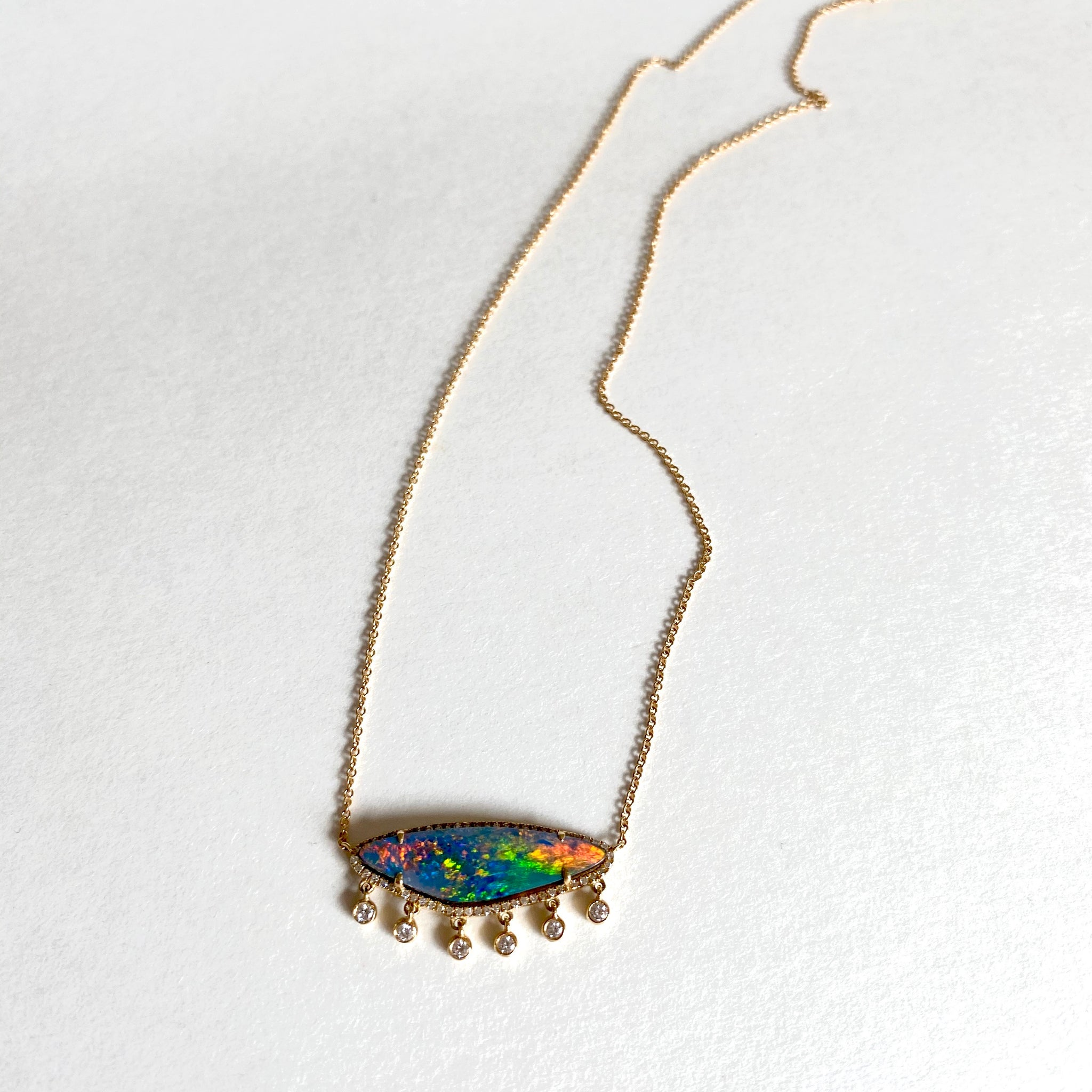 Opal and diamond drop necklace
