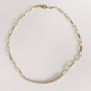 Paperclip chain tennis necklace