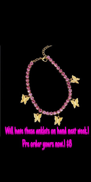 Pink Butterfly 🦋 Anklets