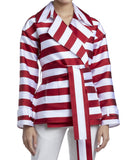 SHORT BELTED STRIPED SATIN COAT