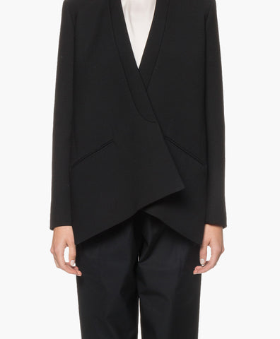 COLLARLESS WOOL CRÊPE JACKET